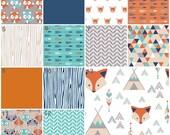 Woodland Crib Bedding, Fox Nursery Bedding, Orange, Navy, Mint, Turquoise, Woodland, Fox, Tribal Baby Boy Nursery