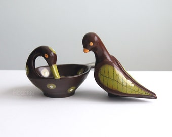 Rare Bitossi Aldo Londi Italian Brown and Green Ceramic Bird Set