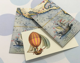 Vintage Map Mini Cards and Envelopes - Set of 10