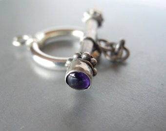 Bali Sterling Silver Amethyst Toggle Clasp Oxidized Silver 17mm