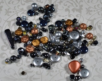Metallic Czech glass beads, mixed sizes and colors, 4-25mm, #815