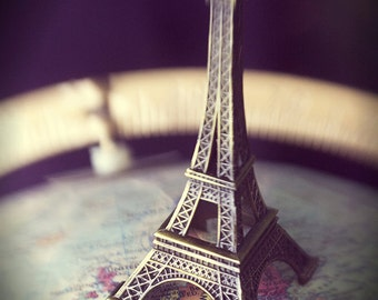 Mini Eiffel Tower Two, Fine art Photography, Photograph, Photo, Globe, France, Architecture, Surreal, Still life, Whimsical, Map, Country,