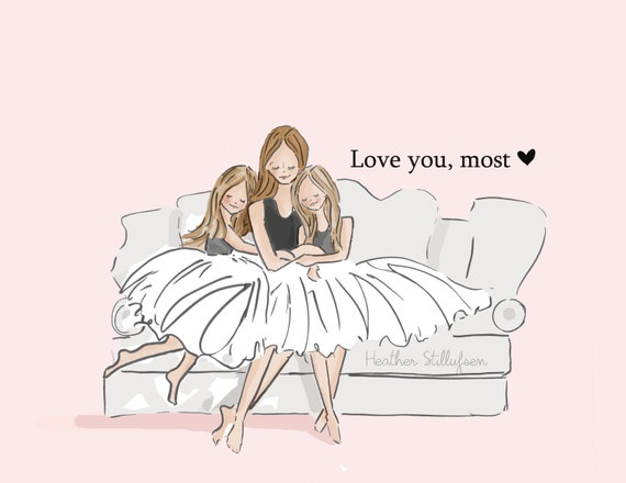 mom and daughter art love you most with by