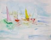 Catalina Island- Mixed Media Painting- 11x15- Fresh, Abstract Sailboats
