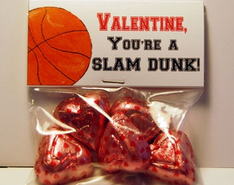 Basketball Valentine Treat Bag Toppers ~ Printable gift labels
