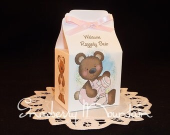 Raggedy Bear Baby Girl - Baby Shower Favor Box Kits -  Set of 12