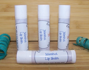 Menthol Lip Balm  ~ Menthol Lip Balm ~ Natural Beeswax Lip Balms