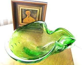 Mid Century Murano Bowl Bullicante Mid Century Home Decor Modern Design Green Bubble Glass from AllieEtCie