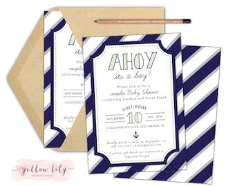 Nautical Co-Ed Baby Shower Invitation- Printable / DIY / Baby Boy / Couples Shower / Nautical Baby Shower / Ahoy