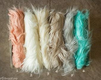 SALE Fur, Ivory Faux Fur, Newborn Prop, Baby Boy or Girl Mongolian Faux Fur Blanket, Basket Stuffer, Baby photo prop, Newborn Props, RTS,