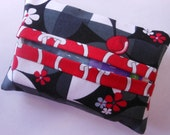 Handmade fabric  tissue pack cover black gray red white FREE SHIPPING!Teacher Gift Bunco Gift Thank you Gift