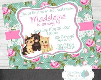 Vintage Kittens Kitten Birthday Invitation Party Printable Digital Kitties Cats Girls Shabby Chic Roses Baby Shower