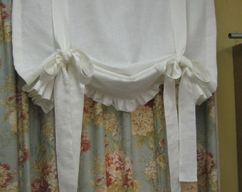 Tie Up Functional Window Shade with Ruffled Hem--Relaxed Rod Pocket Style Window Shade - Other Linen Colors Available