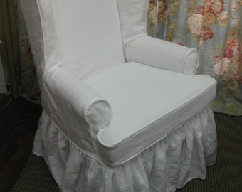 Traditional Wing Back Chair Slipcover in Washed Linen-Local Clients Only-Wing Back Chair Ruffled Slipcover-Washed Linen Slipcover-Your Chair