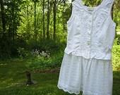 XS - SM sleeveless cotton tunic, white boho top, boho chic, summer clothing, pearl magnolia style, cottage  chic top, Lily Whitepad