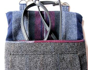 Crossbody bag, tweed purse, shoulder bag, black tweed purse, iPad case, 2 front pockets, long detachable strap, zipper
