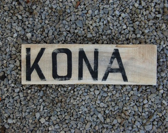 "Ironman Triathlon Sign - ""KONA"" - Hawaii Finisher's Sign - Rustic  Distressed Little Sign - Handpainted on Reclaimed Pine - Triathlete Gift"