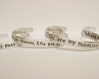Customized Hand Stamped Personalized Aluminum Bracelets