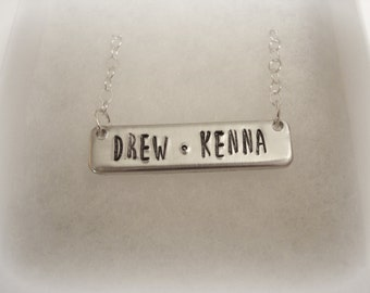 Bar Necklace Hand Stamped with Names or Initial