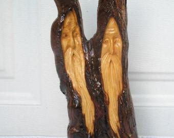 Free Shipping Did You Hear? Wood Spirit Santa carving