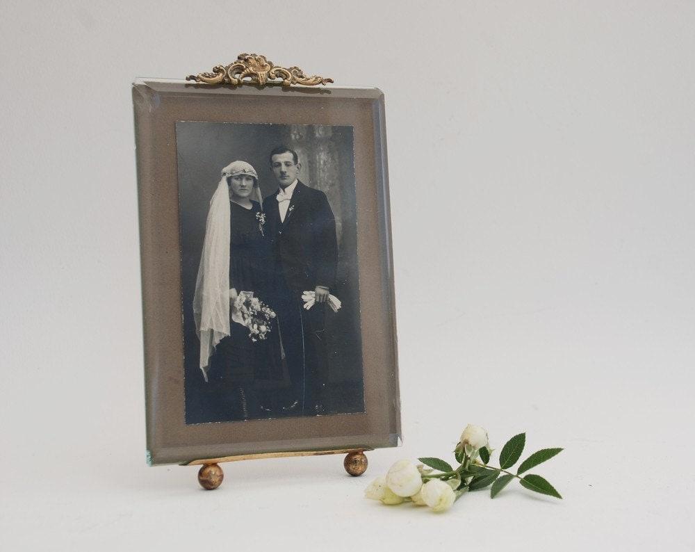 photo frame antique beveled glass gilded photo