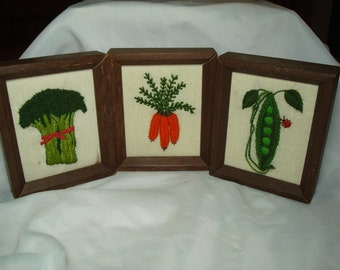1970s Grouping of Three Handmade Crewel Work Framed Vegetables.
