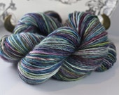Handspun Yarn Very Gently Thick and Thin Fingering Single Merino Cashmere 'Bottle Blue'