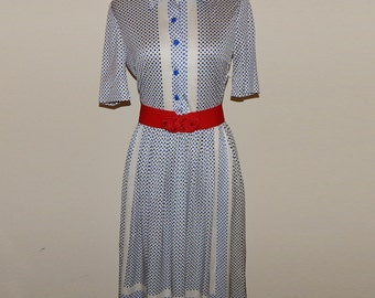 White and Blue Jersey Polka Dots Career Shirtwaist Dress Bust up to 34 Waist up to 26 Hip up to 36 Size S or Size 8 with defects