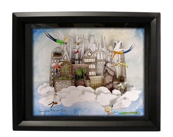The Sky City Shadow Box - Limited Edition Cut Paper Wall Art