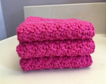 Handcrafted 100% Cotton Crochet Dishcloths / Washcloths Set of 3 in Hot Pink