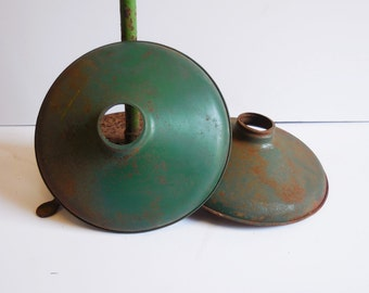 Two vintage Light Shades Industrial pendant Green Metal lamp factory salvage Rustic farmhouse lighting small shallow pan shade Edison bulb
