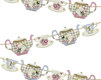 Alice in Wonderland Tea Cup Garland 13'