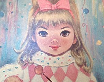 Vintage 60s Big Eye Framed Print - Harlequin Little Drummer Girl - Artwork by Sherle