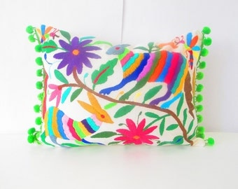Mexican Otomi pillow cover, handmade animal and flowers, colorful decorative lumbar,13x16 Unique piece of mexican culture, otomi embroidered