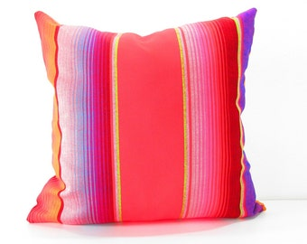 Cinco de Mayo Red Tribal Pillow covers 20 Inch Aztec Mexican Ethnic Throw Boho Chic Decor Global Geometric Striped Purple red black orange.