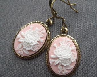 Cameo Earrings - Flower Jewelry - Flower Earrings - Victorian Jewelry - Pink Earrings - Romantic Earrings - Romantic Jewelry - Pink Jewelry