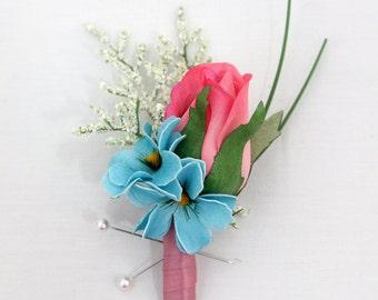 Groom, Groomsmen Wedding Boutonniere - Pink Rose Boutonniere, Blue Daisies, Spring Boutonniere, Father of the Bride, Baby Shower Corsage