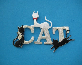 SALE~ Iron-on Embroidered Patch CATs 3.75 inch