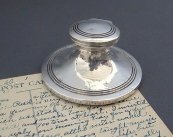 Solid Silver Capstan Inkwell from England - Antique Inkwell - Hallmarked 1908