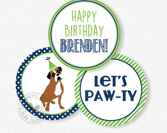 "Puppy Party Centerpiece Circles, Dog Birthday Decorations, Boxer Dog Party Decorations, Printable 4"" Party Circles"