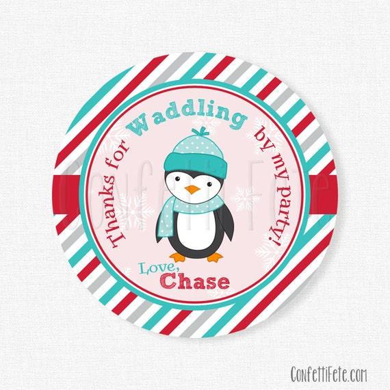 Penguin Favor Tags, Winter ONEderland Favor Tags, Winter Birthday Tag, Boy Birthday Party Favors, Personalized