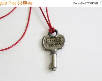 50% half off sale // Vintage Tiny Excelsior 700 Mid Century Key - Upcycled Necklace on Waxed Red Cord, Stamford CT, mini