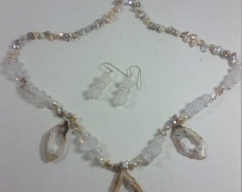 Geo slices lampwork beads and chip pearls necklace and Earring set