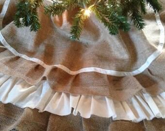 Burlap Tree Skirt- Shabby Ruffle with Cream Ribbon, 48 inch diameter