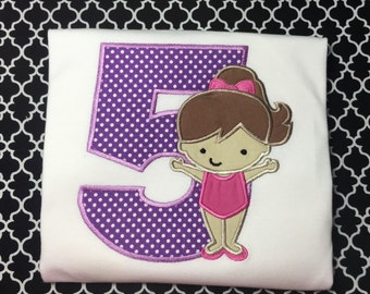 Birthday Number and Gymnastic Girl Shirt Long or Short Sleeve Girls Any Number 1-9