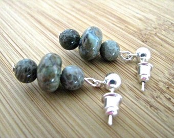 Silver and Green and Brown Paisley Jasper Dangly Earrings