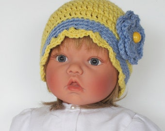 Baby Girls Yellow and Blue Crocheted Cap