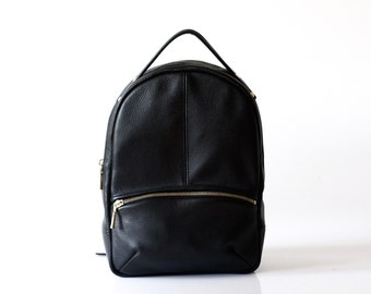Leather Backpack OPELLE Baby Kanye Back Pack purse in Black