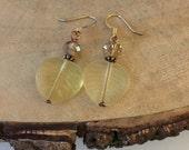 Yellow Leaf Earrings, Glass Leaf Earrings