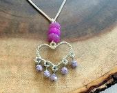 Heart Charm Necklace, Purple Chandelier Heart Charm Necklace, Valentines Necklace